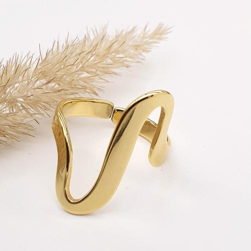 Кольцо из ювелирной стали женское Кассиопея золото
