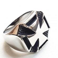 Байкерское кольцо-печатка из медицинской стали Тамплиер