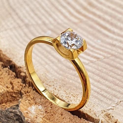 Стальное кольцо для обручения с цирконием