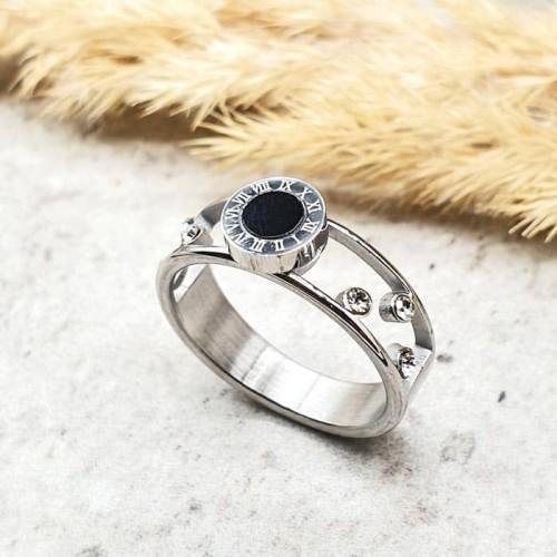 Двойное кольцо из хирургической стали с кристаллами Артемис