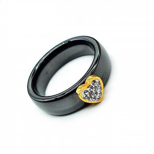 Керамическое кольцо с циркониями Сердечко