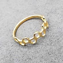 Кольцо сталь для женщин Золотые соты