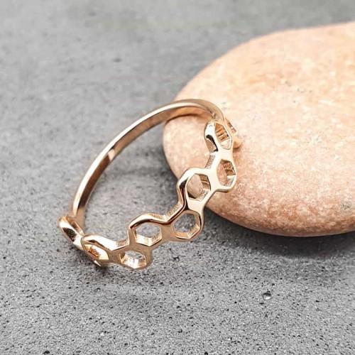 Стальное женское кольцо Розовые соты
