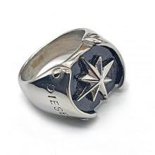 Перстень-печатка из стали Северная звезда