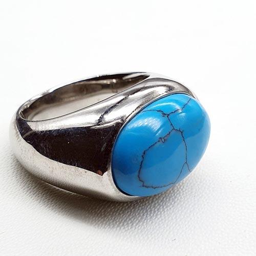 Женское кольцо из стали с бирюзовым камнем