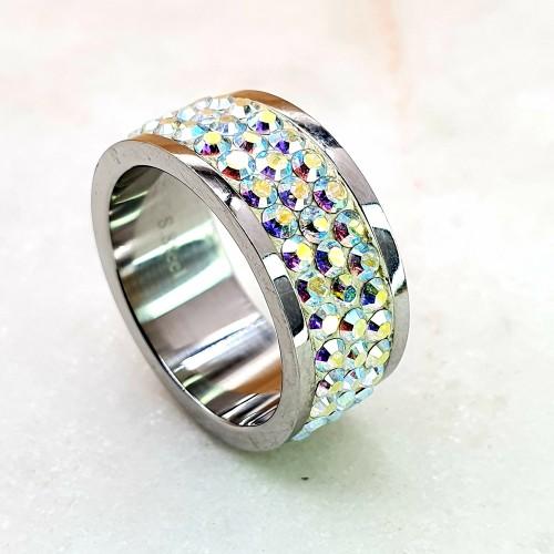 Женское кольцо с кристаллами-хамелеонами Swarovski
