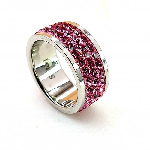 Женское кольцо с кристаллами темно-розового цвета Swarovski