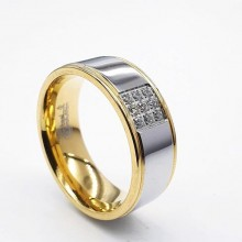 Парные кольца для двоих из медицинской стали с циркониями сталь/золото 8 мм