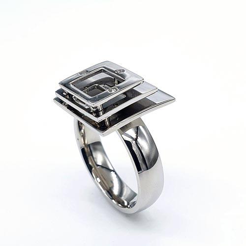 Женское кольцо из стали Кубизм