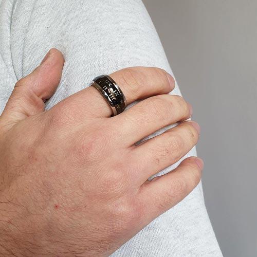 Кольцо антистресс из медицинской стали мужское с оборачивающимся элементом Время желаний