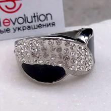 Стальное кольцо с эмалью женское Черная ночь