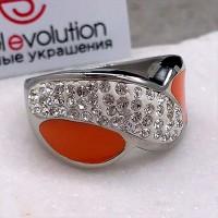 Стальное кольцо с эмалью женское Оранжевый рассвет