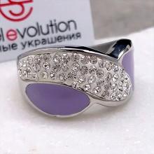 Женское кольцо с цветной эмалью Сиреневый туман