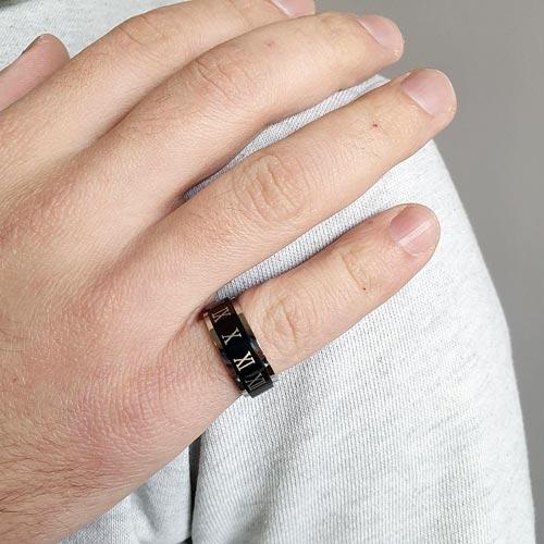 Кольцо антистресс из медицинской стали мужское с оборачивающимся элементом Нерон