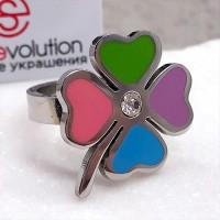Стальное кольцо с эмалью женское Разноцветный клевер