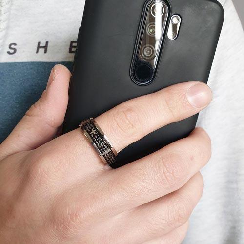 Кольцо антистресс из медицинской стали мужское с оборачивающимся элементом Адепт