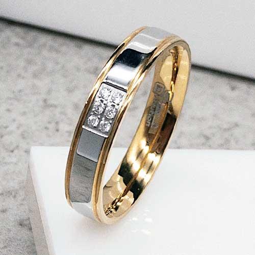 3d55babf9f8d2b Обручальное кольцо из медицинской стали с шестью циркониями сталь/золото 5  мм - ks-731