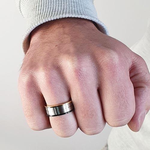 Кольцо антистресс из медицинской стали мужское с оборачивающимся элементом Дуализм