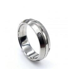 Кольцо металлическое из медицинской стали с циркониями Сирена