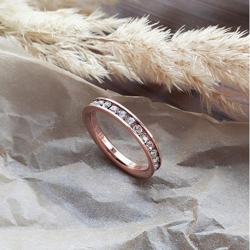 Кольцо из медицинской стали женское с белыми циркониями розовое золото