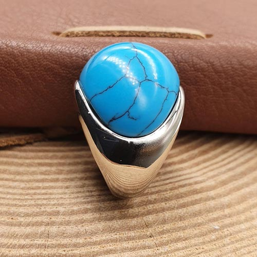 Женское кольцо из стали Бирюзовое небо