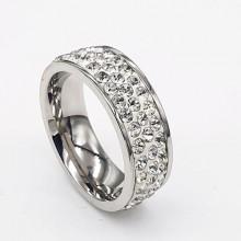 Кольцо сталь для женщин с камнями