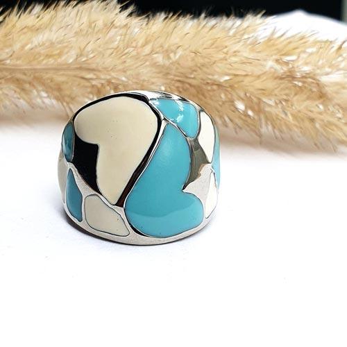 Женское кольцо с цветной эмалью Колибри