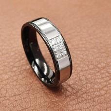 Свадебные кольца из медицинской стали с шестью циркониями 6 мм
