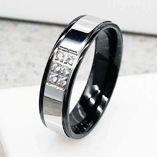 166eddbd934f1b Обручальное кольцо из медицинской стали с шестью циркониями 6 мм - ks-849