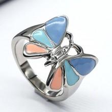 Стальное кольцо с эмалью женское Бабочка желаний