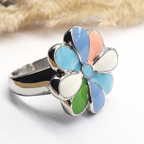 Женское кольцо с цветной эмалью Королевская ромашка