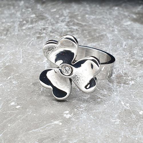 Женское стальное кольцо Фиалка