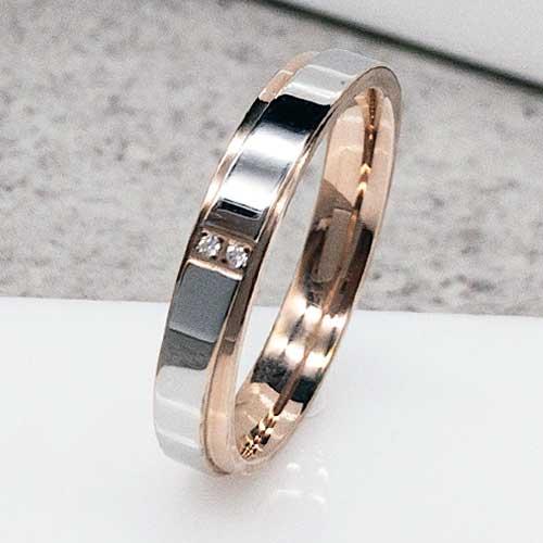 99d26463ffde01 Обручальное кольцо из медицинской стали с двумя цикрониями сталь/золото 5 мм  - ks-914
