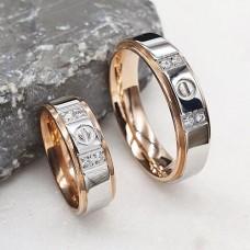 Кольцо обручальное ювелирная сталь с четырьмя цикрониями сталь/золото 6 мм