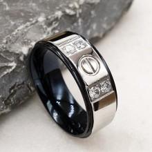 Обручальное кольцо стальное с четырьмя цикрониями 8 мм