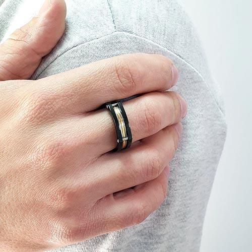 Кольцо из комбинированной стали Тамерлан