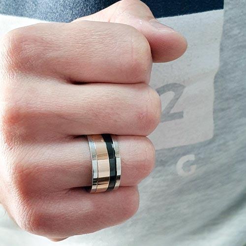 Кольцо антистресс из медицинской стали мужское с оборачивающимся элементом Янус