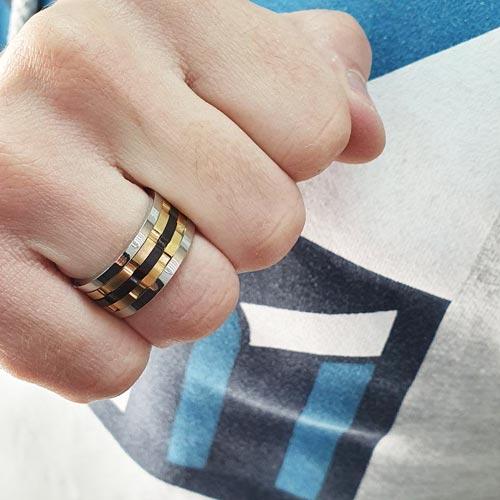 Кольцо антистресс из медицинской стали мужское с оборачивающимся элементом Стоунхендж