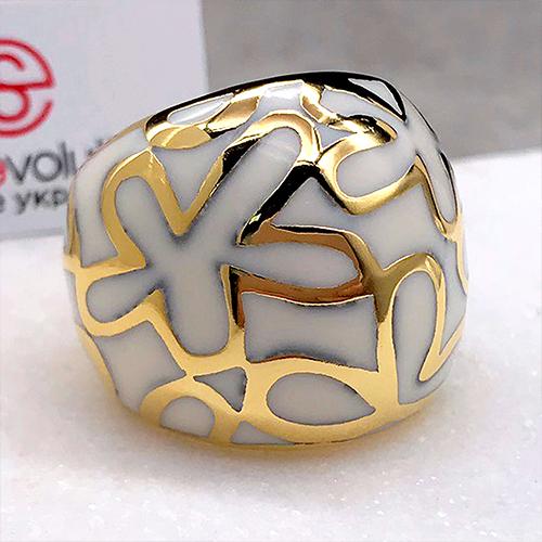 Женское кольцо с цветной эмалью Суданская роза