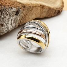 Эксклюзивное женское кольцо из комбинированной стали Аркадия