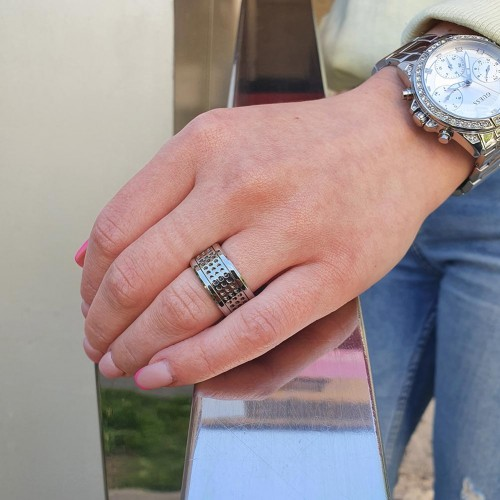 Кольцо антистресс из медицинской стали мужское с оборачивающимся элементом Нейт