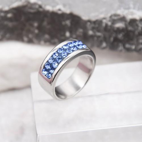 Кольцо женское с синими кристаллами Swarovski