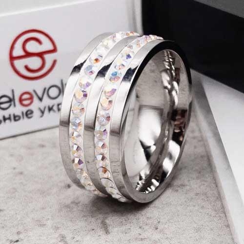 Женское кольцо Swarovski с циркониями-хамелеонами