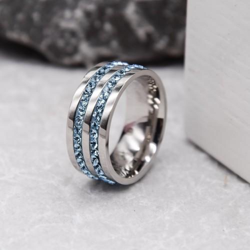 Женское кольцо Swarovski с циркониями цвета аквамарин