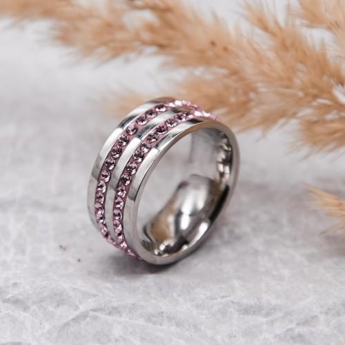 Женское кольцо Swarovski с циркониями светло-розового цвета