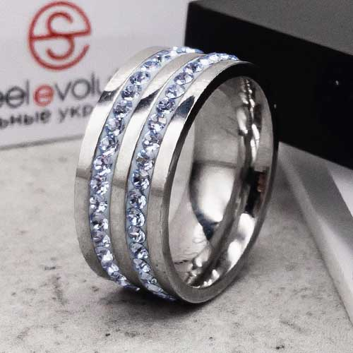 Женское кольцо Swarovski с циркониями голубого цвета