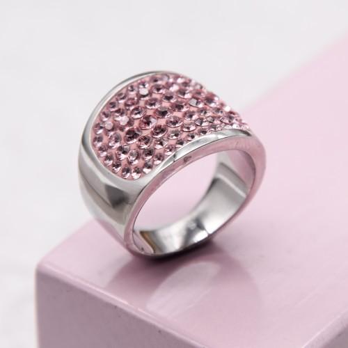 Женское кольцо с кристаллами Swarovski светло-розового цвета