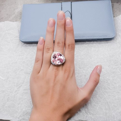 Женское кольцо-перстень с розовым кристаллом Swarovski