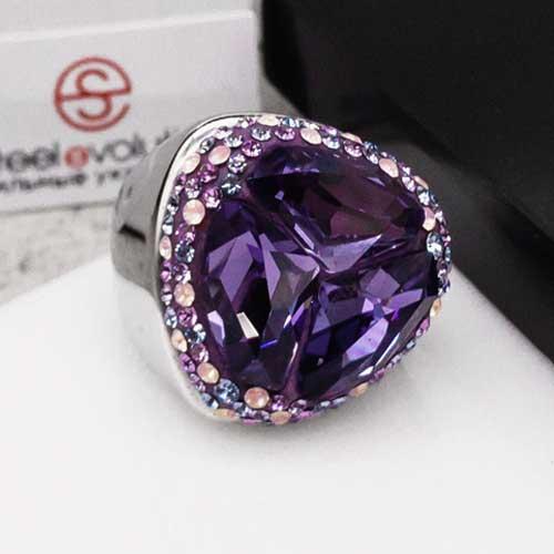 Женское кольцо-перстень с фиолетовым кристаллом Swarovski
