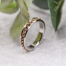 Стальное кольцо с янтарными кристаллами Swarovski